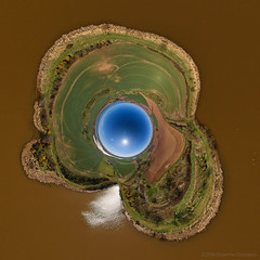 Lunan Water - Inverted Little Planet (G Davidson) Tags: aerial 360 angus panorama scotland 2018 lunan water redcastle fields littleplanet