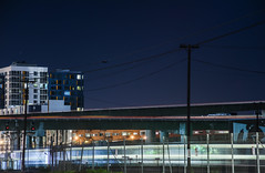 san jose arrival (pbo31) Tags: bayarea california nikon d810 color night dark black march 2018 spring boury pbo31 sanfrancisco city urban lightstream motion traffic roadway showplacesquare caltrain train yard rail track station 280 ramp overpass soma