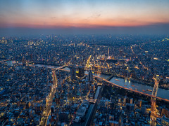 View from the Tokyo Skytree (TeunJanssen) Tags: japan travel traveling worldtravel backpacking asia tokyo olympus omd omdem10 view skytree skyline lights goldenhour city evening 東京スカイツリー observationdeck tower