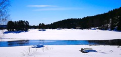 People become tiny on the frozen lake, still -18°C here. (evakongshavn) Tags: winter winterwonderland wonderfulworld wonderlandscape winterwald winterlandscape landscape landschaft paysage natur nature new light white blue bluetiful snow neige hivernal hiver frozenlake lake water waterscape