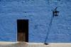 Light and Shadows @ Mansión del Fundador, Arequipa (Mabelín Santos) Tags: blue azul arequipa peru traveler wall puerta sombra shadow paredazul color azules bluewall