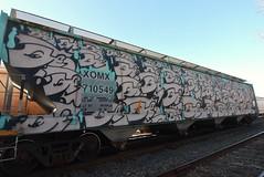 JABER (TheGraffitiHunters) Tags: graffiti graff spray paint street art colorful freight train tracks benching benched jaber whole car hopper