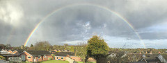 Full Rainbow Panorama (LindaShaws Images) Tags: rainbow weather yoxall staffordshire england changeable wet hale cloudy landscape panorama iphone7 village countryside storm
