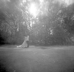someone's wedding (shikihan) Tags: pinhole 120 6x6 monochrome blackandwhite bw cherry tokyo japan ilford shinjuku wedding memoriam spring square