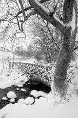 Kettlewell Beck in Snow (717Images) Tags: winter snowfall cold frozen stream river bridge stone black white yorkshire