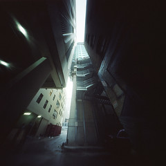 Back Alley (integrity_of_light) Tags: baltimore architecture alley pinholephotography filmphotography zeroimage