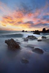 Neptune's Lair (Lee Sie) Tags: sunset oceanscape seascape coronadelmar beach pacific ocean water tide marine rocks reef sky clouds outdoors