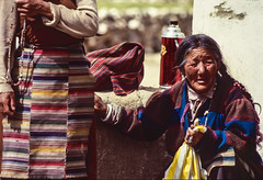 Old Tibetan woman. An NGO built 2 baby rooms in refugee camps. This woman was the cook, working everyday to provide food for the young kids. (rvjak) Tags: film pellicule argentique f3 nikon india inde tibetan woman old tibétaine femme vieille ladakh himalaya choglamsar costume asie asia