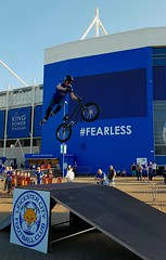 BMX tricks at the King Power Stadium, Leicester. April 2018 (sbally1) Tags: bmx leicestercity lcfc football foxes premierleague kingpowerstadium trick biketricks bmxjumps