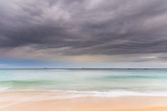 Grey Skies Sunrise Seascape (Merrillie) Tags: daybreak wamberalbeach sand sunrise sea centralcoast nature water morning surf overcast wamberal weather newsouthwales waves earlymorning nsw australia beach ocean landscape waterscape sky coastal clouds outdoors seascape dawn coast cloudy seaside
