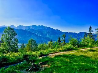 View from Nußlberg near Kiefersfelden towards Kaiser mountains, Bavaria, Germany