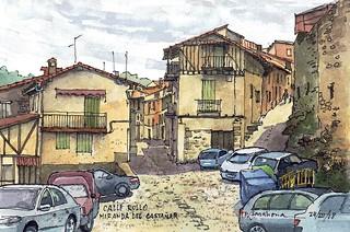 Calle Rollo. Miranda del Castañar con coches