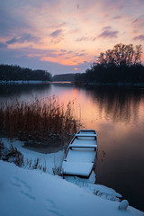 Winter (Pásztor András) Tags: nature sunset winter snow lake reflection sky clouds snowfall cold ice boat reed dslr full frame nikon d700 andras pasztor photography 2018 hungary