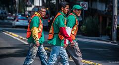 2018 - Mexico City - Cross Walkers (Ted's photos - Returns 23 Jun) Tags: 2018 cdmx cityofmexico cropped mexico mexicocity nikon nikond750 nikonfx tedmcgrath tedsphotos tedsphotosmexico vignetting workers vests vest streetscene street people peopleandpaths ballcap denim denimjeans bokeh men males trio three yellowline orangevest orange green walking walkers