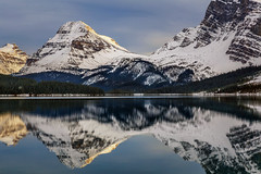 Bow Lake, Banff National Park (aud.watson) Tags: canada alberta canadianrockies albertasrockies bowvalley bowlake mountain mountains mountainside valley valleys peaks glacier glaciers lake glaciallake shore water reflections ice snow cloud clouds forest wood tree trees conifers landscape rock rocks