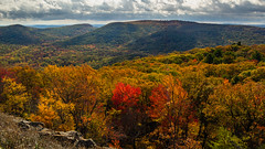Overview from Bear Mountain (johnny4eyes1) Tags: leaves autumn vista colorful landscape forest orange woods clouds mountains newyork catskills landscapes fall overview hudsonvalley