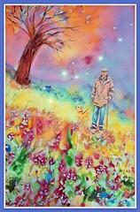Por el camino de fresas y flores. (IDIAY) Tags: acuarela fresas flores paseo perro anciano árbol