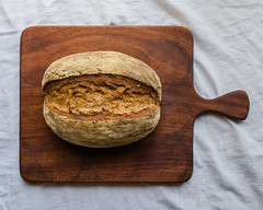 Auvergne Rye-Wheat Bread, a french recipe (Chase Hoffman) Tags: denver colorado color chasehoffmanphotography chasehoffman summer food bread heartybread bake baking loaf rye ryebread cuttingboard topdown fujifilm fujifilmxt10 fuji fujinonxf23mmf14r wideangle sourdough auvergneryewheat auvergne french