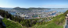 Bergen Panorama from Mt Fløyen (m_artijn) Tags: bergen mount fløyen norway panorama city sea fjord green hill mountain