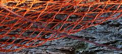 security first (Rosmarie Voegtli) Tags: net netz security sicherheit leukerbad tourists winter summer valais wallis switzerland suisse svizzera schweiz hiking orange grid pattern