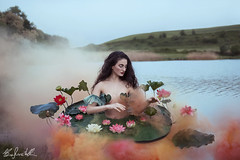 The Pain Of Nymphaea (Elis's ☾) Tags: fairytale fable fiaba tale racconto magia magic fantastic model ninfea nymph colorful faerie fantasy skirt smoke adobe retouch photoshop 2470mm canon5dmark3 leaf flower lily pond water lake nymphaea portfolio fineart artistic art arte portrait ritratto limnadi mythology elisascascitelli fabled nature natura painting dipinto girl donna woman ragazza teen green verde lago flowers fiori fiore beauty beautiful dreamy dreams reality concettuale conceptual wonderful processing freckless freckled lentiggini efelidi