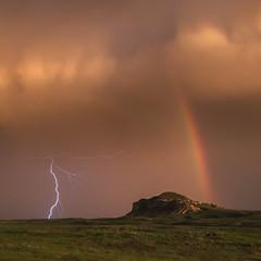 Rainbow and the Storm (Kelly DeLay) Tags: sunset stormchasing stormscape lightning peaceful rainbow nebraska