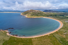 """""""Tullagh Bay"""" – Horseshoe Beach of Inishowen (Gareth Wray - 10 Million Views, Thank You) Tags: inishowen tullagh beach bay clonmany uris binnion hill isle of doagh lenan urris mamore gap mountains horse horseshoe dji phantom four 4 pro p4p drone aerial quadcopter strand cove islands ocean sea landscape seascape monument landmark famous tourist attraction tourism tourists historic history visit donegal ireland irish scenic gareth wray photography bright direct uav sun sand atlantic water pool day vacation reflection 2018 sandy sunset gaeltacht outdoor sky grass"""