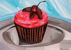 Cupcake Time (Megan Coyle) Tags: cupcake cupcakeart dessert dessertcollage cupcakecollage frosting sweets cherry cake blue pink brown art collage collageart paperart papercollage magazinecollage paintingwithpaper stilllife foodart stilllifecollage stilllifeart foodcollage cutandpaste megancoyle coylecollage