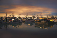 Three yellow umbrellas (charhedman) Tags: steveston richmond boats marina water threeyellowumbrellas reflections