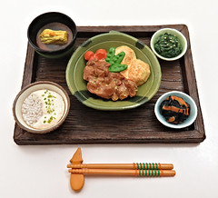 Enjoy Japanese Cooking # 3 (MurderWithMirrors) Tags: rement miniature food meal samuraifood japanesecooking japanesecuisine chopsticks tray plate nikujaga meat potato misosoup rice bowl chopstickrest
