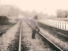 marcher - balade le long de la track 3 (photosgabrielle) Tags: photosgabrielle urban monochrome sepia montreal petitebourgogne people urbain city ville