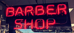 March 28: Barber Shop Window (earthdog) Tags: 2018 window sign word neon barbershop googlepixel pixel androidapp moblog cameraphone project365 3652018