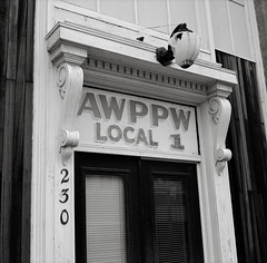 Association of Western Pulp and Paper Workers, St. Helens, Oregon (austin granger) Tags: awppw associationofwesternpulpandpaperworkers union local1 sthelens oregon sign font doorway door architecture evidence vandalism rock broken work workers square film gf670