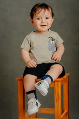 Lovely boy (Sparkphotopro) Tags: chair sitting cute child studio joy kid baby boy portrait fun white lovely happy texture backdrop beautiful caucasian childhood face family innocence innocent isolated little love posing pretty small smile young