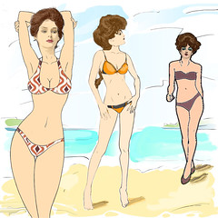 Beach Scene 2 with 3 Gibson Girls (J Lincoln Hallowell Jr) Tags: beach beautiful beauty bikini blond blue body cartoon cloud cute design exotic face fashion female girl hair healthy holiday illustration lady legs long model nature ocean outdoor people person sand sea sexy sky slim smile summer sunny swimsuit tan travel tropical vacation vector water white women young sketch