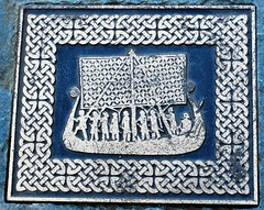 Tile, Lake Derwentwater Wall (fromkin) Tags: viking ship tile boat sail swords helmets