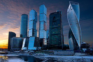 The Moscow-City complex at sunset