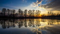 Sunset in mirror (mirosławkról) Tags: poland silesia sunset sky sun clouds trees water pond