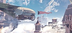"""City above the heavens"" (L1netty) Tags: irrationalgames 2kgames bioshockinfinite bioshock pc games gaming reshade screenshot 4k videogame color pcgaming game videogames outdoor blue white smoke city heavens airship flag cityscape sky"