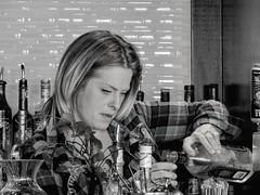 Steady As You Go (clarkcg photography) Tags: woman female bartender drink alcohol whiskey tulsa lotus blackandwhite portrait steady pour