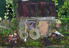 wood mouse in a little house (4) (Simon Dell Photography) Tags: wild wood mouse little stone house cottage old english country garden dry walls model micro toy rodent animal cute funny awesome creature mice sheffield shirebrook valley s12 simon dell photography