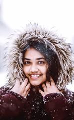 Snowy beauty (Chaitanyabn) Tags: beauty lady beautiful snowing