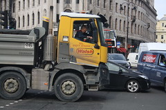 Gridlock (lazy south's travels) Tags: london england english britain british uk street scene urban traffic jam congestion grid lock lorry truck man driver stuck car vehicle tipper streetphotography candid hgv