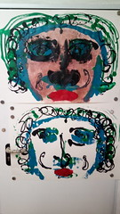 der nächste Druckexperimentschritt (raumoberbayern) Tags: painting peinture print druck malerei portrait acrylic acryl sketchbook skizzenblock dina1 robbbilder