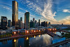 Sundown @ Skyline @ Southbank, Melbourne, VIC, Australia ([ PsycBob ]) Tags: cbd southbank melbourne australia australien blue blau skyline skycraper hochhaus fire murry river fluss sundown sonnenuntergang mirror spiegelungen sky himmel