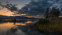 Mono Lake evening (Middle aged Nikonite) Tags: mono lake california tufa reflection sunset colors clouds water weeds nikon d750 outdoor landscape nature evening mountains vista