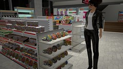 Something that doesn't contain fish (alexandriabrangwin) Tags: alexandriabrangwin secondlife 3d cgi computer graphics virtual world photography japan japanese mini mall store corner shop seven eleven 7 11 convenience products odd foreign foreigner shopping snack foods fish seafood shrimp crustacea noodles ramen instant soup shiny leather jacket pants shelves well stocked australian traveler mizuki town tokyo
