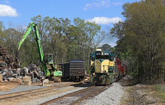 2 little piggies down 3 to go (GLC 392) Tags: bayline bayl bay line isrr indiana southern emd gp402 4041 3018 tractor trailer railroad railway train chatt job trees clouds competition competitors road highway tree sky grass locomotive rjc rj corman tpw toledo peoria western 3830 1261 sw1200 gp382 al alabama barn hail bail straw car pig scrap yard loader dothan