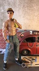 Need Somethin' Fixin'? (MaxxieJames) Tags: bastian hunter ken barbie doll dolls mattel made move fashion fashionista mechanic garage car