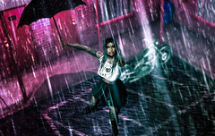 Make it rain gurl (Dawn Marley) Tags: argrace vinyl gawk enchante maitreya catwa swallow girl rain secondlife umbrella boots skirt motorcycle motel dance pink music sl avatar fashion slfashion outfit picoftheday wet hair piercing lipstick tattoo water